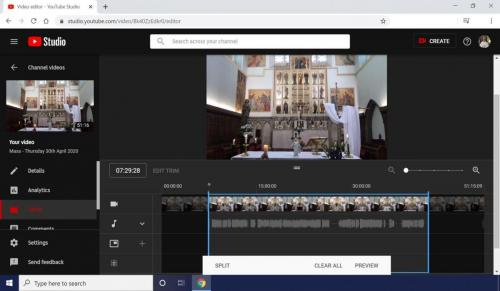 The live stream is converted to a permanent recording so that the liturgy can be watched at any time.